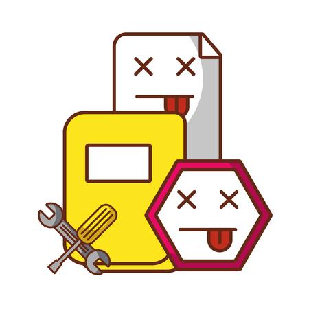 website page error folder file support tools vector illustration
