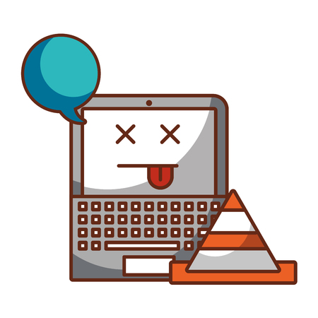 laptop computer speech bubble cone error vector illustration  イラスト・ベクター素材