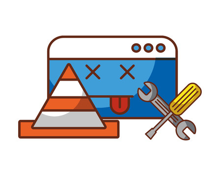 website page traffic cone and tools repair error vector illustration