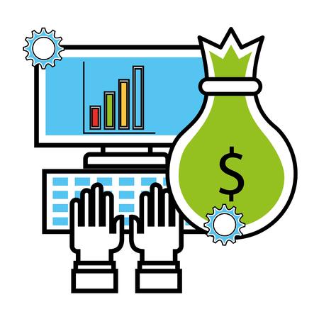 hands typing computer money bag business chart vector illustration