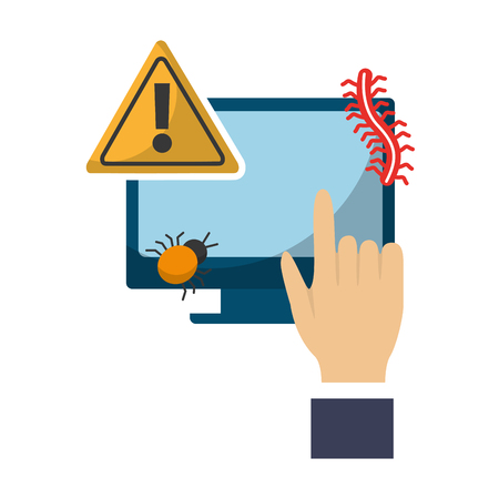 hand computer virus attack alert data protection vector illustration  イラスト・ベクター素材