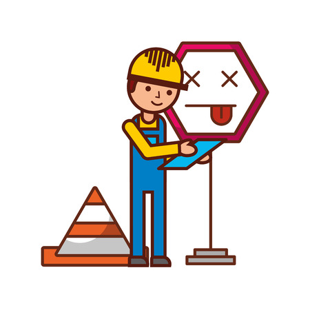 worker construction error sign traffic cone vector illustration