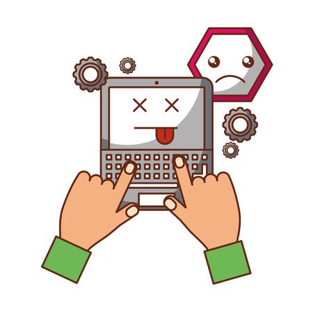 handen typen toetsenbord computer website waarschuwing fout vectorillustratie