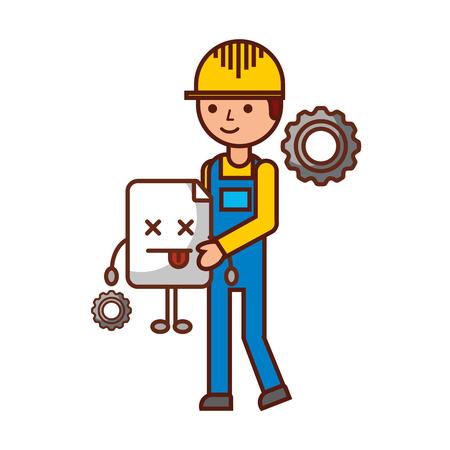 worker construction holding website error problem vector illustration