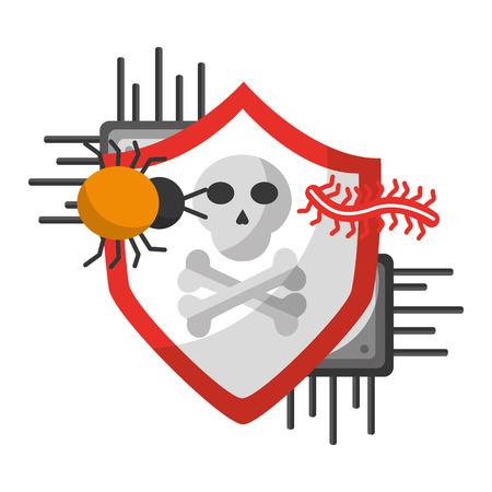 Ilustración de vector de protección de datos de ataque de virus de peligro de circuito de placa base Ilustración de vector