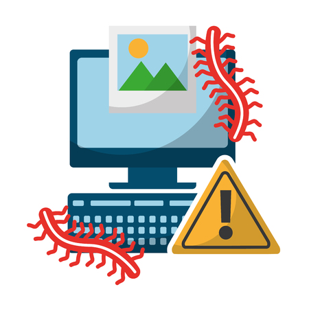 computer alert sign picture worms data protection vector illustration