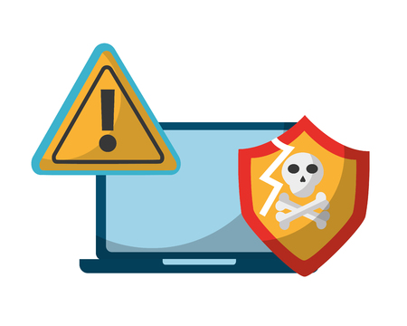 laptop computer data protection broken security vector illustration