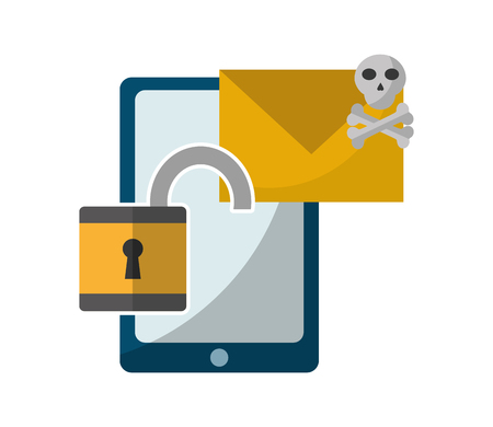 data protection smartphone email danger open padlock vector illustration