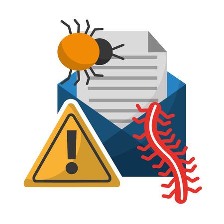 data protection email message virus bug worm alert vector illustration