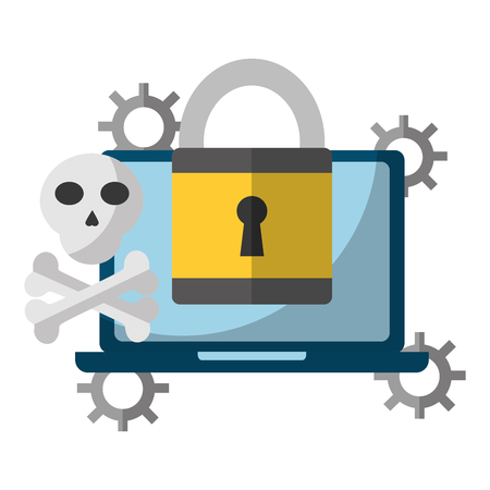 data protection laptop computer padlock danger attack vector illustration