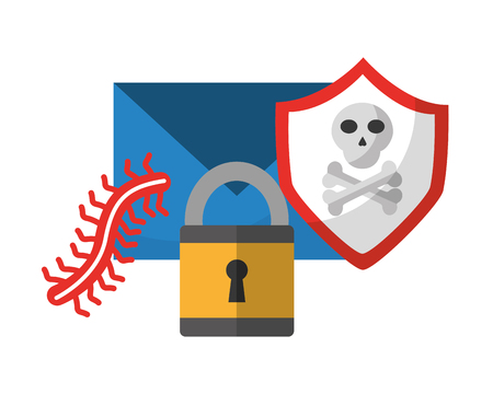 data protection padlock shield danger worm vector illustration  イラスト・ベクター素材