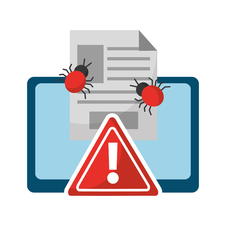 data protection tablet computer alert sign file virus vector illustration Illustration