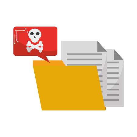 data protection folder file danger speech bubble vector illustration Illusztráció