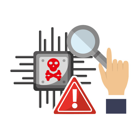 hand holding magnifying glass circuit alert problem vector illustration