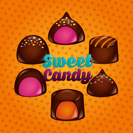sweet candy chocolate bonbons cookies strawberry flavors vector illustration
