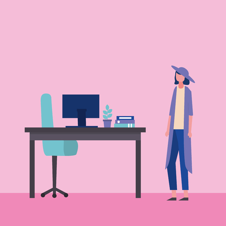 business office woman with hat work vector illustration