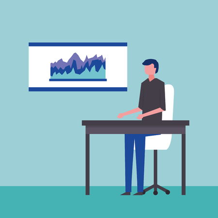 business man sitting office board with statistics vector illustration