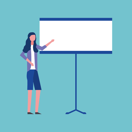 business girl pointed board presenting vector illustration