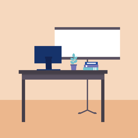business office computer desk work things vector illustration