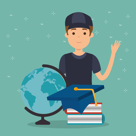 young man student with education supplies vector illustration design