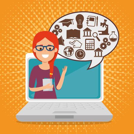 kobieta nauczyciel z laptopa online edukacja wektor ilustracja projekt Ilustracje wektorowe