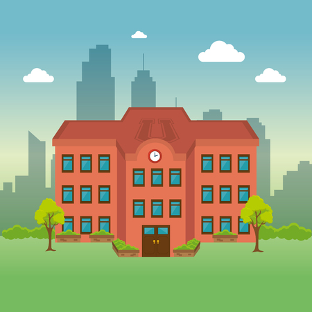 university building facade scene vector illustration design Illustration