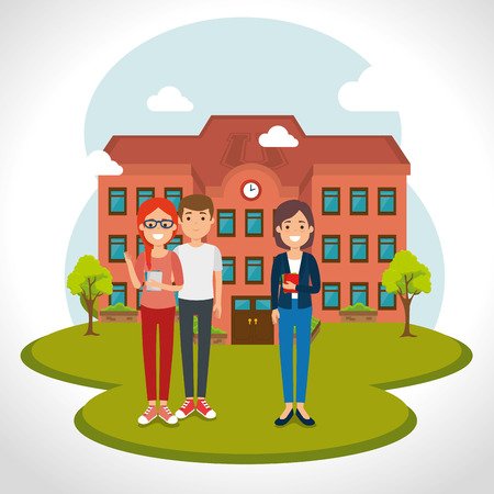 young students with school facade scene vector illustration design