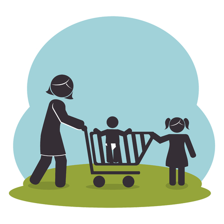 family members on park silhouette  characters vector illustration design Illustration