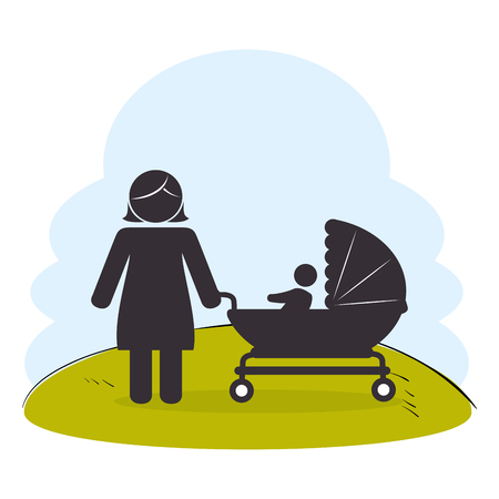 mother with baby on park silhouette vector illustration design
