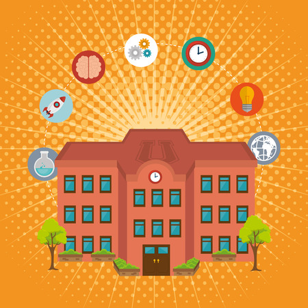 university building facade and set icons vector illustration design