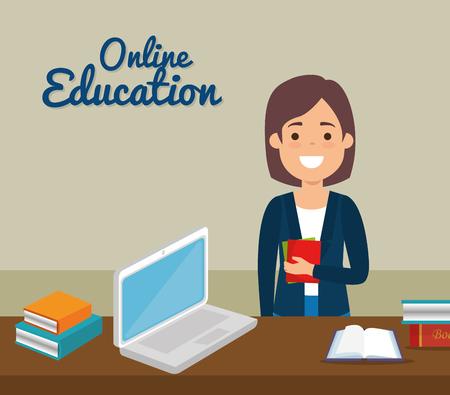 Femme enseignante avec ordinateur portable éducation en ligne conception d'illustration vectorielle