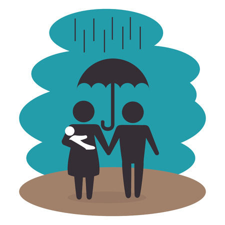 family members under the rain silhouette  characters vector illustration