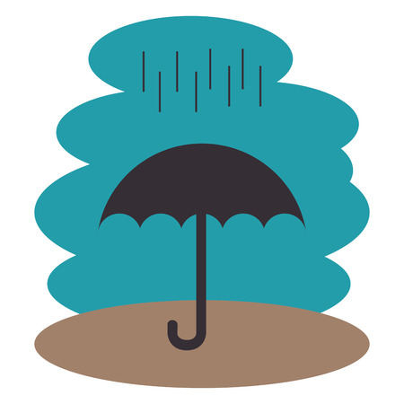 umbrella with rain silhouette vector illustration design