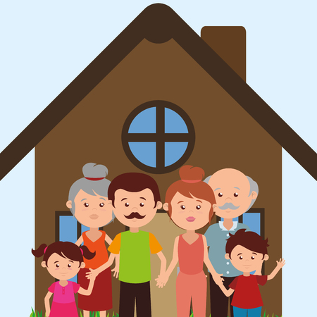 family members in the house characters vector illustration design Illusztráció