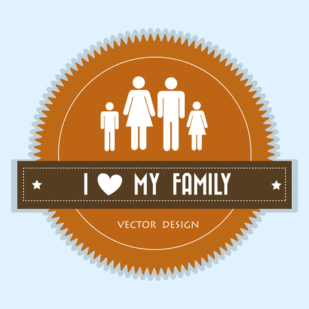 family members silhouette  characters seal stamp vector illustration design