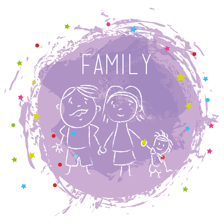 happy family members drawing vector illustration design