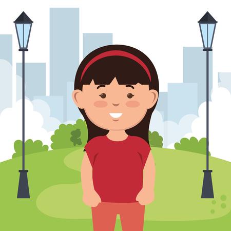 little girl on park character vector illustration design