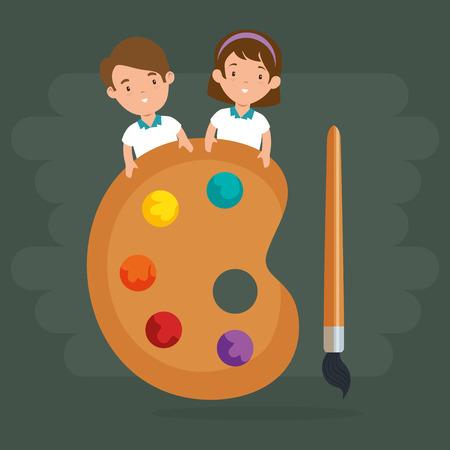 little kids with pallette vector illustration design