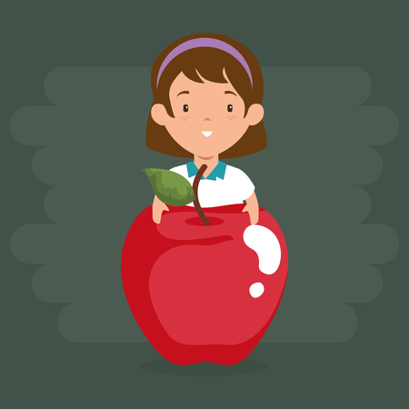 little girl with apple vector illustration design Ilustrace