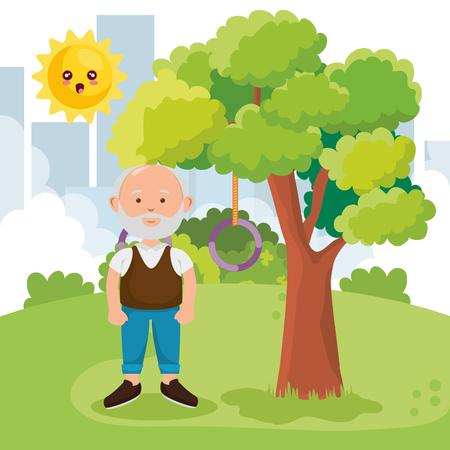 grandfather on park character vector illustration design Illustration