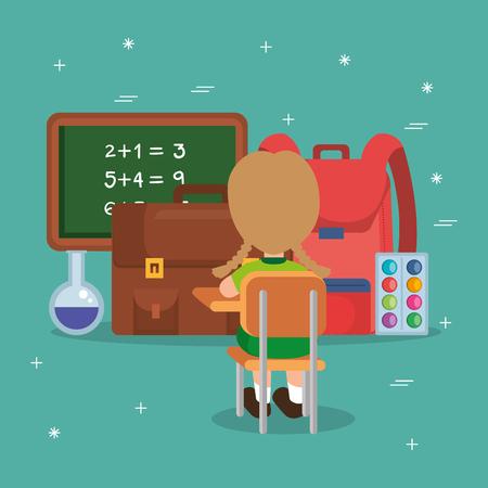 little boy with school supplies vector illustration design Illustration