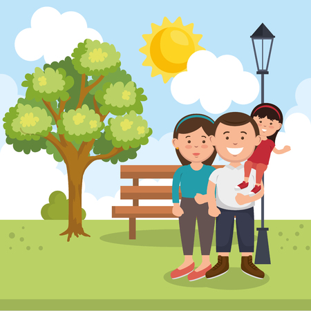 family members on park characters vector illustration design