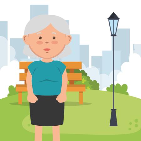 grand-mère sur la conception d'illustration vectorielle de caractère parc Vecteurs