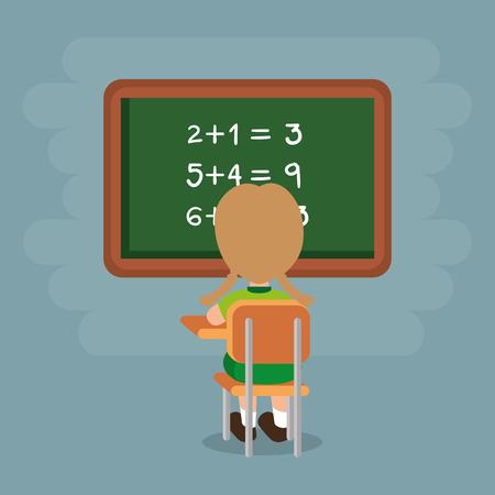 little boy with chalkboard vector illustration design