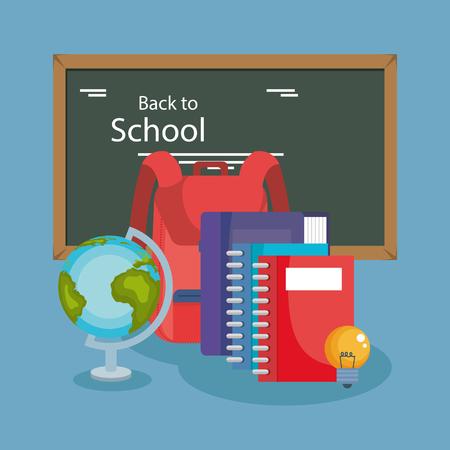 chalkboard with school supplies vector illustration design