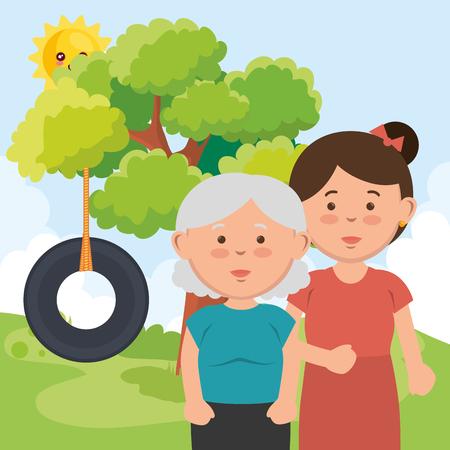 grandmother with daughter on park vector illustration design Illustration