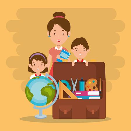 little kids with school supplies and teachers vector illustration design