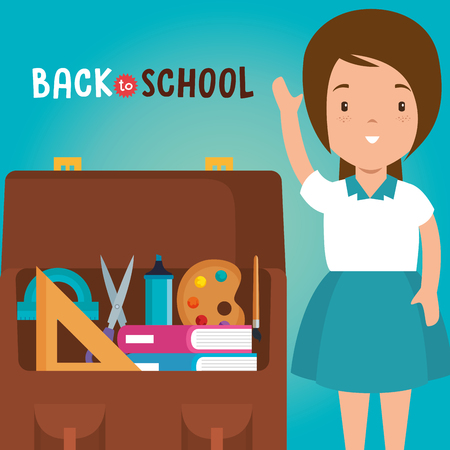 little girl with school supplies vector illustration design Illustration