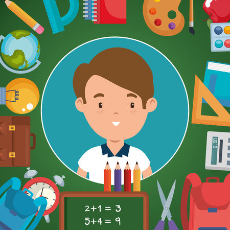 little boy with school supplies vector illustration design  イラスト・ベクター素材