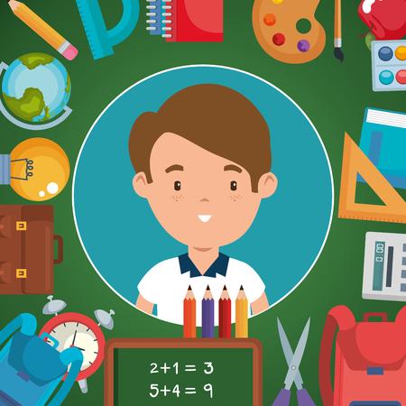 petit garçon avec des fournitures scolaires vector illustration design